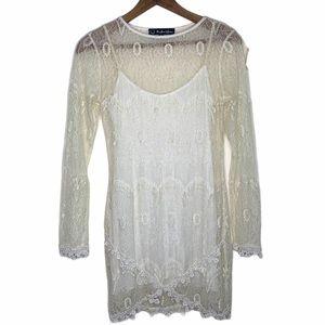 For Love & Lemons Vintage Lace Long Sleeve Dress S
